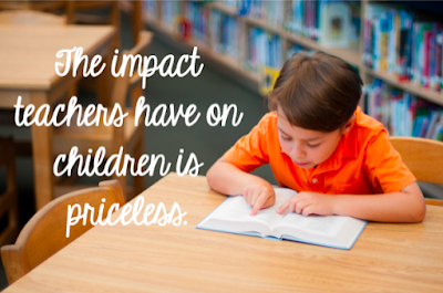 Picture of school aged boy in library with words stating the impact teachers have on children is priceless.
