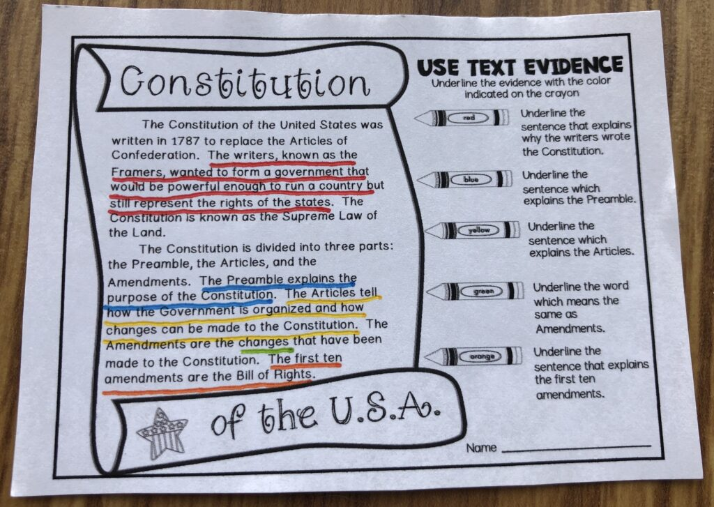 Using text evidence while learning about the Constitution activity