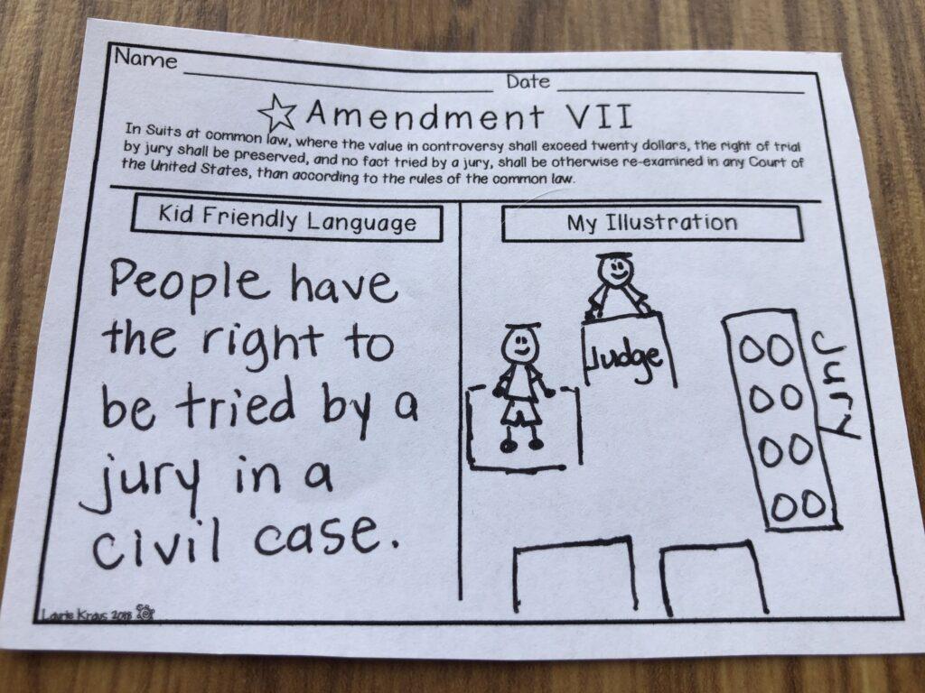 Bill of Rights illustration activity for kids